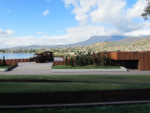 Part of the view, looking towrads the city and Mt Wellington. The museum is in front and below us.