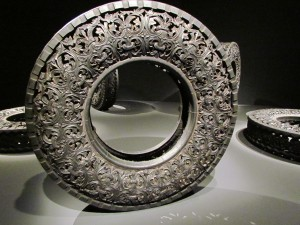 one of 10 fully carved tyres on display.