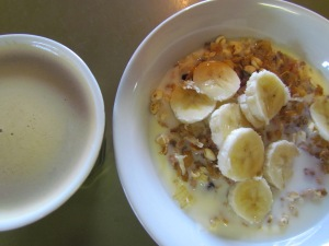 yoghurt, cereal, milk, banana, maple syrup...Yum!