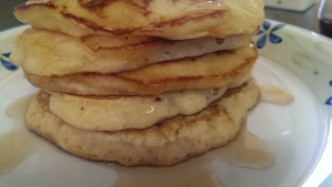 Thick, fluffy pineapple pancake stack