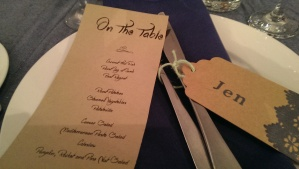 Simple but elegant table display of menu and name tags.