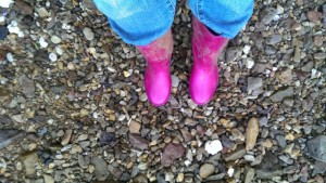 Pink gumbies off for a weekend walk