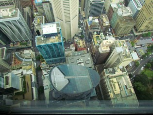 Looking down onto the city, from Sydney Tower